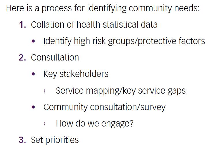 Identifying community need